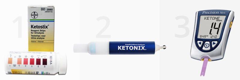 ketostix urine strips, ketonix breath analyzer, precision xrtra serum ketone meter